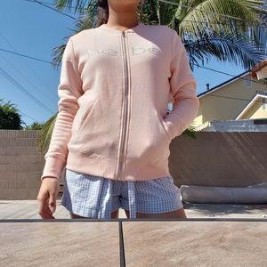 Womens Bebe light pink zip up jacket